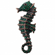 Vintage Style Seahorse Emerald Austrian Crystal Green Animal Pin Brooch