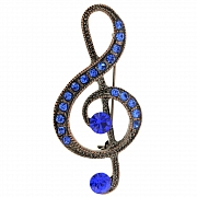 Vintage Style Sapphire Blue Music Note Pin Brooch