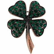 Emerald Lucky 4 Leaf Clover Pin Brooch