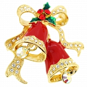 Christmas Bell Christmas Wreath Pin Swarovski Crystal Christmas Pin Brooch