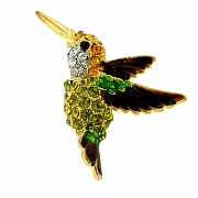 Olivine Crystal Hummingbird Lapel Pin