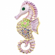 Pink Violet Seahorse Pin Swarovski Crystal Aquatic Pin Brooch