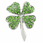 Green Lucky 4 Leaf Clover Flower Pin Brooch