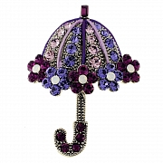 Amethyst Lady Umbrella Swarovski Crystal Pin Brooch