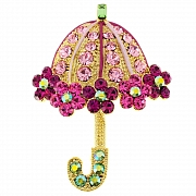 Pink Lady Umbrella Swarovski Crystal Pin Brooch