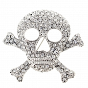 Cross Bones Skull Pin Brooch