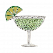 Green Margarita Glass Pin Swarovski Crystal Pin Brooch and Pendant(Chain Not Included)