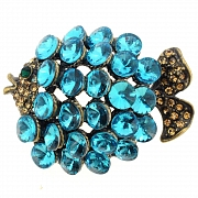 Turquoise Blue Crystal Fish Pin Brooch