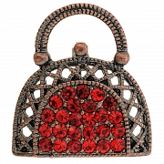 Ruby Red Lady Handbag Vintage Style Austrian Crystal Pin Brooch