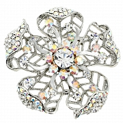 Wedding Flower Pin Swarovski Crystal Pin Brooch and Pendant(Chain Not Included)