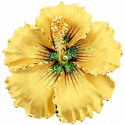 Buttercream Hawaiian Hibiscus Flower Brooch/Pendant (Chain Not Included)