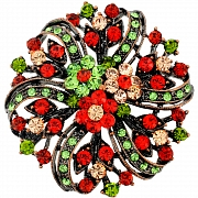 Multicolor Flower Wedding Pin Swarovski Crystal Pin Brooch and Pendant(Chain Not Included)