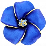 Blue Hawaiian Hibiscus Pin Swarovski Crystal Flower Pin Brooch and Pendant(Chain Not Included)