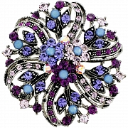 Amethyst Purple Flower Wedding Pin Swarovski Crystal Pin Brooch and Pendant(Chain Not Included)
