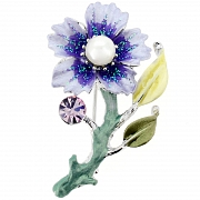 Violet Flower With Pearl Pin Swarovski Crystal Pin Brooch
