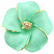 Small Green Hawaiian Plumeria Flower Pin Brooch And Pendant
