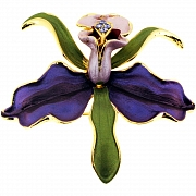 Purple Orchid Flower Swarovski Crystal pin brooch and Pendant