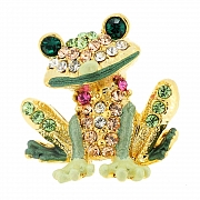 Green Frog Swarovski Crystal Animal Lapel Pin