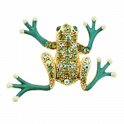 Emerald Green Frog Pin Animal Pin Brooch