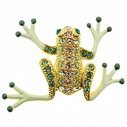 Peridot Green Frog Pins Swarovski Crystal Animal Pin Brooch