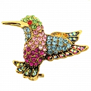 Green Hummingbird Pin Swarovski Crystal Bird Lapel Pin