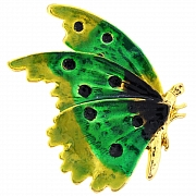 Green Enamel Flying Butterfly Insect Pin Brooch