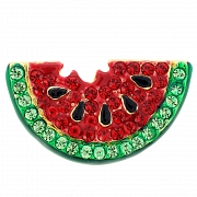 Enamel Red Watermelon Swarovski Crystal  Pin Fruit Pin Brooch