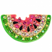 Enamel Pink Watermelon Swarovski Crystal Pin Fruit Pin Brooch