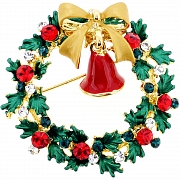 Christmas Bell Christmas Wreath Pin Swarovski Crystal Pin Brooch