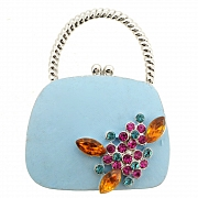 Blue Lady Handbag Swarovski Crystal Pin Brooch