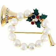 Pearl Christmas Wreath Horn Christmas Pin Brooch