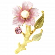 Rose Flower with Pearl Swarovski Crystal Pin Brooch