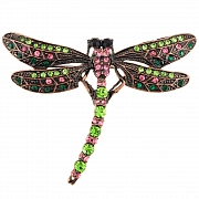 Vintage Style Multicolor Dragonfly Crystal Pin Brooch