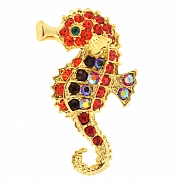 Ruby Red Seahorse Pins Swarovski Crystal Animal Pin Brooch