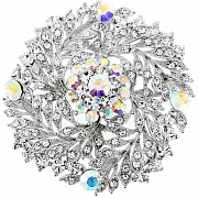 Crystal Flower Wedding Pin Brooch/Pendant(Chain Not Included)