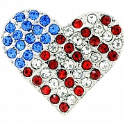 Sapphire American Flag Heart Pin Swarovski Crystal Pin Brooch And Pendant(Chain Not Included)