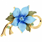 Blue Poinsettia Christmas Star Flower Pin Brooch/Pendant(Chain Not Included)