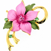 Pink Poinsettia Christmas Star Flower Pin Brooch/Pendant(Chain Not Included)