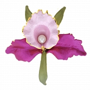 Purple And Pink Orchid Pearl Flower Brooch Pin