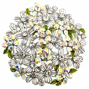 White Flower Bridal Wedding Pin Brooch and Pendant