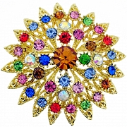 Multicolor Flower Bridal Wedding Pin Swarovski Crystal Pin Brooch and Pendant(Chain Not Included)