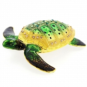Emerald Green Sea Turtle Swarovski Crystal Jewelry Trinket Box