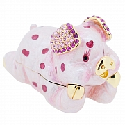 Spotted Pink Pig Swarovski Crystal Jewelry Trinket Box