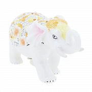 White Floral Elephant Swarovski Crystal Jewelry Trinket Box