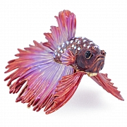Red Purple Crowntail Betta Fish Trinket Box With Swarovski Crystal