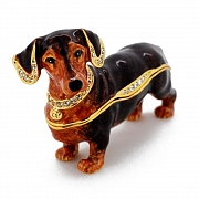 Brown Dachshund Trinket Box with Swarovski Crystal