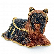 Brown Yorkie Dog Trinket Box with Swarovski Crystal