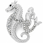 Seahorse And Mermaid Austrian Crystal Pin Brooch