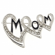Triple Hearts Mom Pin Brooch
