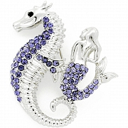 Purple Seahorse and Mermaid Crystal Pin Brooch